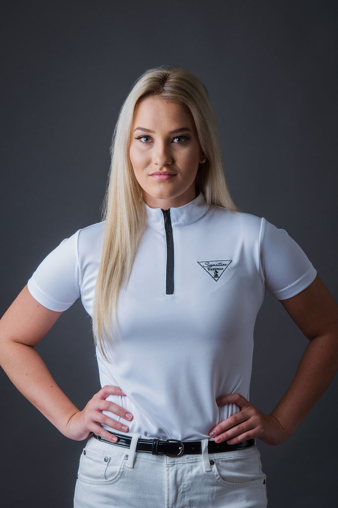 Short sleeve Technical Zipper - White | Signature Equestrian QLD