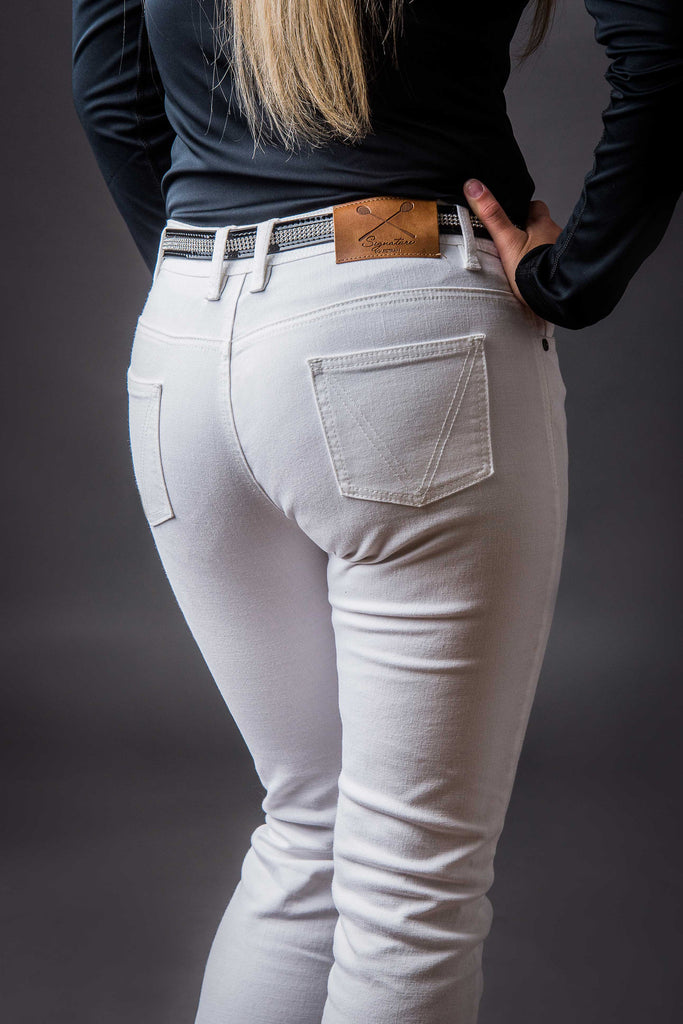 Women's White Stretch Riding Jeans | Signature Equestrian QLD