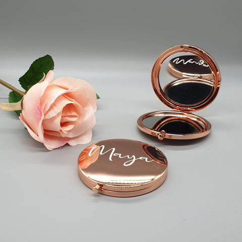 Rose Gold Personalised Compact Pocket Mirror