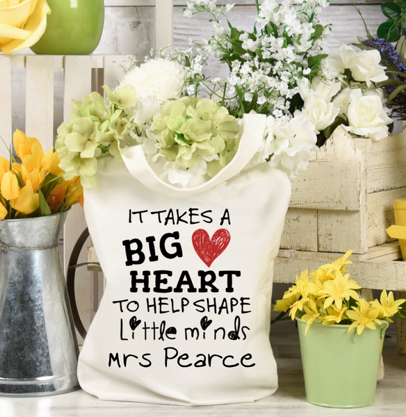 It Takes A Big Heart To Shape Little Minds Teacher Tote Bag - Mugged Write Off