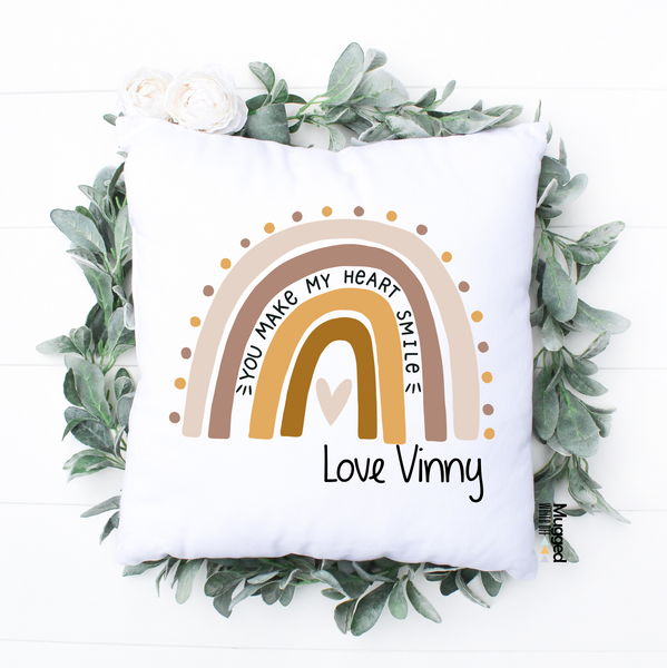 You Make My Heart Smile Rainbow Cushion - Mugged Write Off Limited