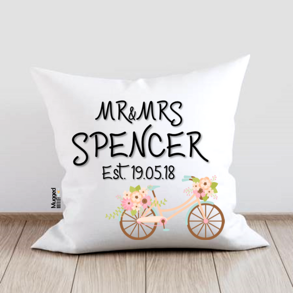 Mr & Mrs Wedding Date Bicycle Cushion - Mugged Write Off