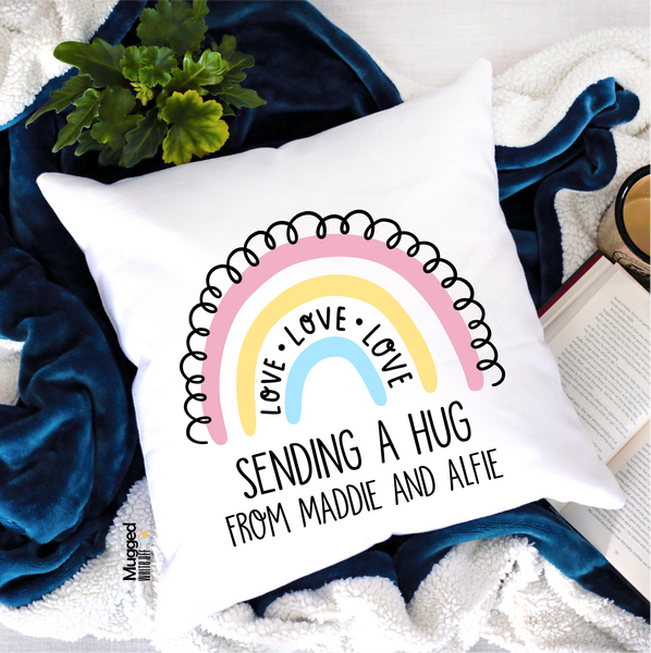Sending You A Hug Rainbow Cushion - Mugged Write Off Limited