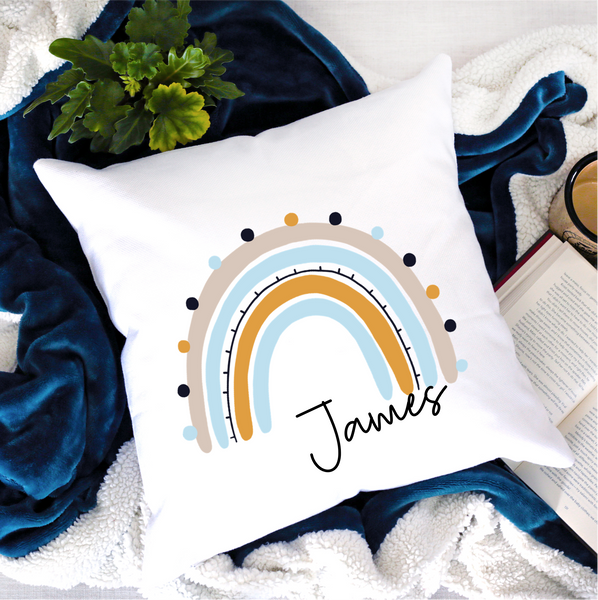 Rainbow Blue Personalised Cushion - Mugged Write Off Limited