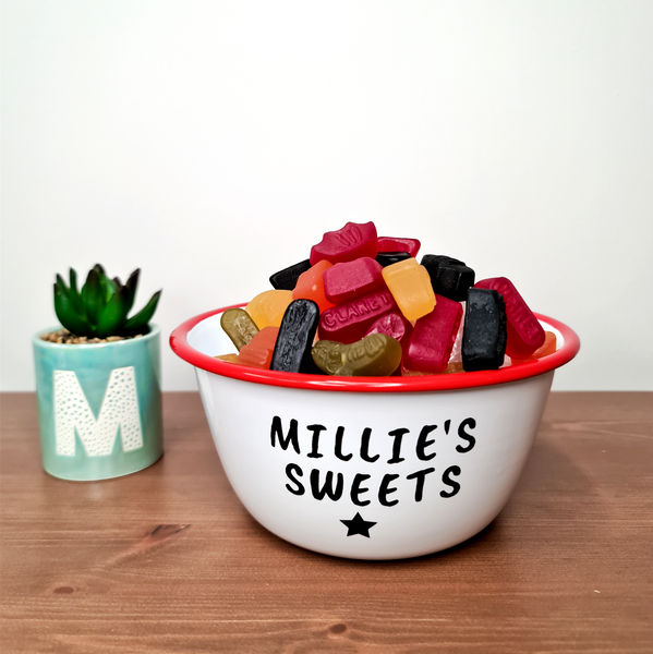 Personalised Sweets Red Enamel Bowl - Mugged Write Off Limited