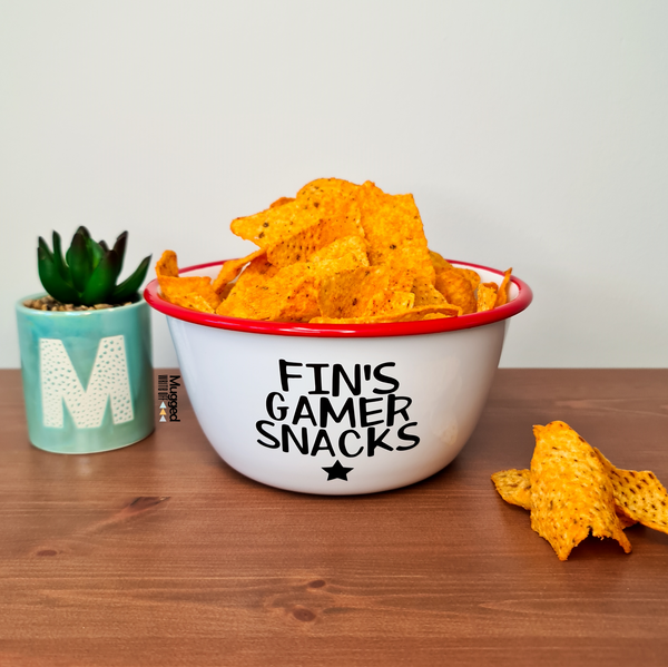 Personalised Gamer Snacks Red Enamel Bowl - Mugged Write Off Limited