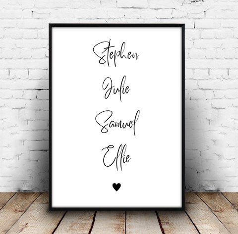 Family Names Heart Print Download