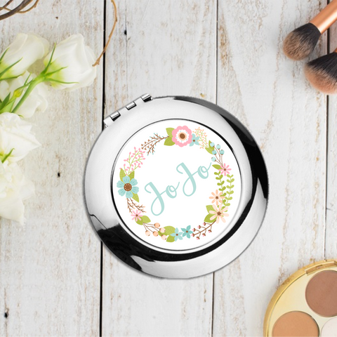Blue Floral Personalised Compact Pocket Mirror - Mugged Write Off