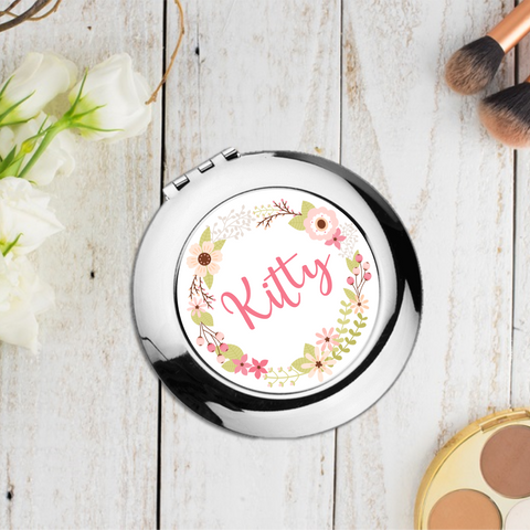 Pink Floral Personalised Compact Pocket Mirror - Mugged Write Off
