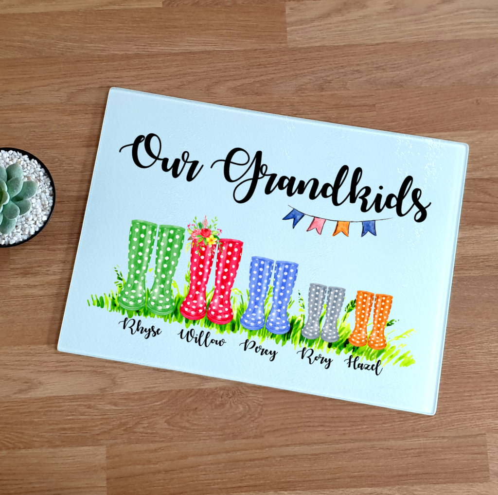 Grandchildren Wellington Boot Glass Chopping Board - Mugged Write Off