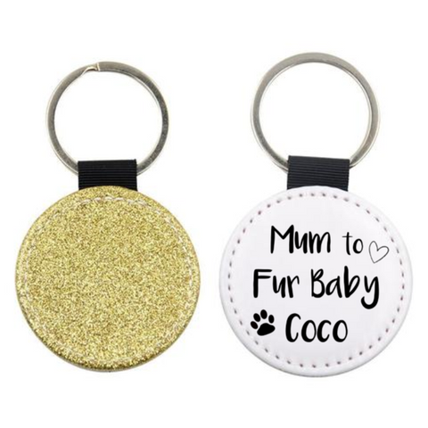 Fur Baby Mum Dad Personalised Keyring