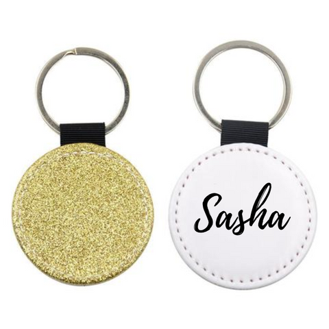 Glitter Round Name Keyring - Mugged Write Off