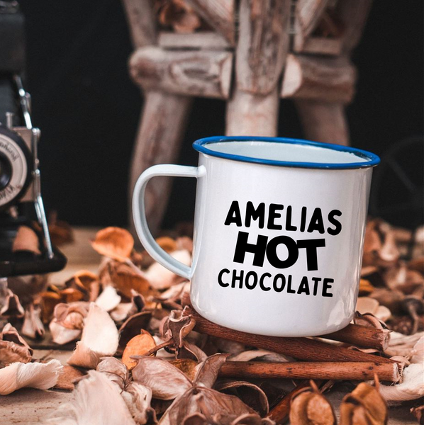Personalised Hot Chocolate Enamel Mug - Mugged Write Off Limited