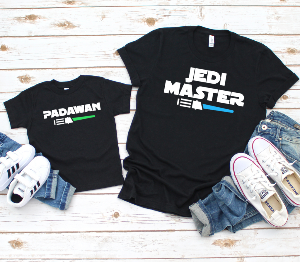 Jedi Master and Padawan Matching T Shirts - Mugged Write Off