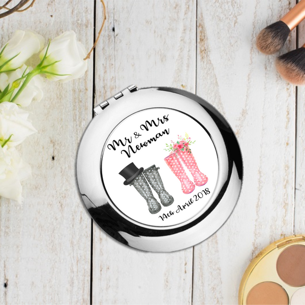 Just Married Newlyweds Personalised Wedding Welly Boot Compact Pocket Mirror - Mugged Write Off