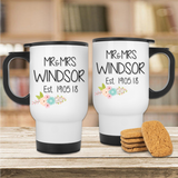 Mr & Mrs Floral Branch Wedding Date Mug Set - Mugged Write Off