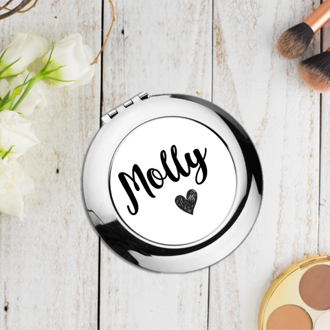 Black Name Heart Personalised Compact Pocket Mirror - Mugged Write Off