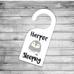 Chilly Penguin Personalised Sleeping Door Hanger - Mugged Write Off
