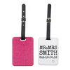 Mr & Mrs Est Date Glitter Luggage Tag - Mugged Write Off