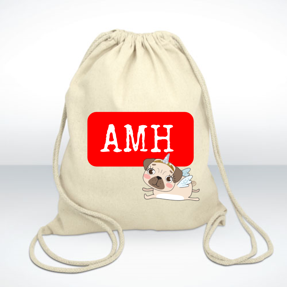 Unicorn Pug Personalised Initial Linen Bag - Mugged Write Off