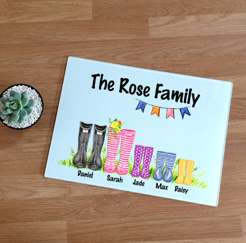 Family Wellington Boot Glass Chopping Board