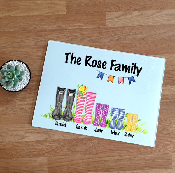 Family Wellington Boot Glass Chopping Board - Mugged Write Off