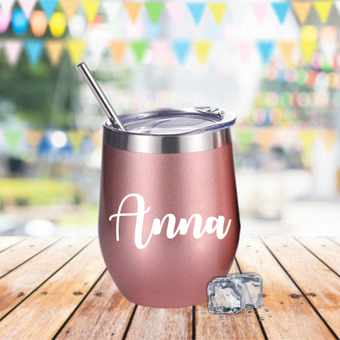 Personalised Rose Gold Insulated Cup with Lid & Straw - Mugged Write Off