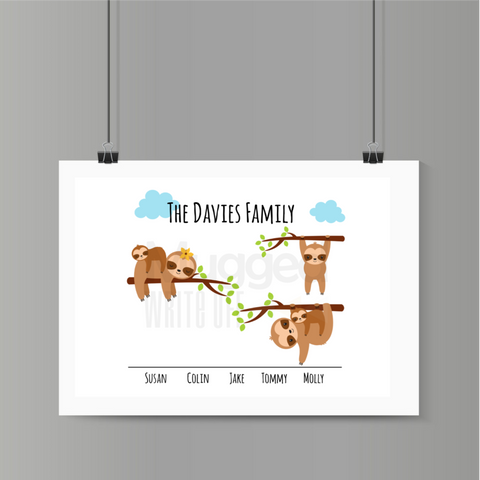 The Sloth Family Print Download