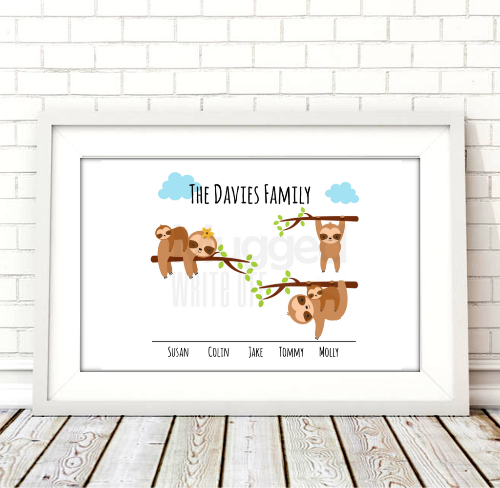 The Sloth Family Print Download - Mugged Write Off