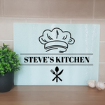 Personalised Kitchen Chef Glass Chopping Board - Mugged Write Off