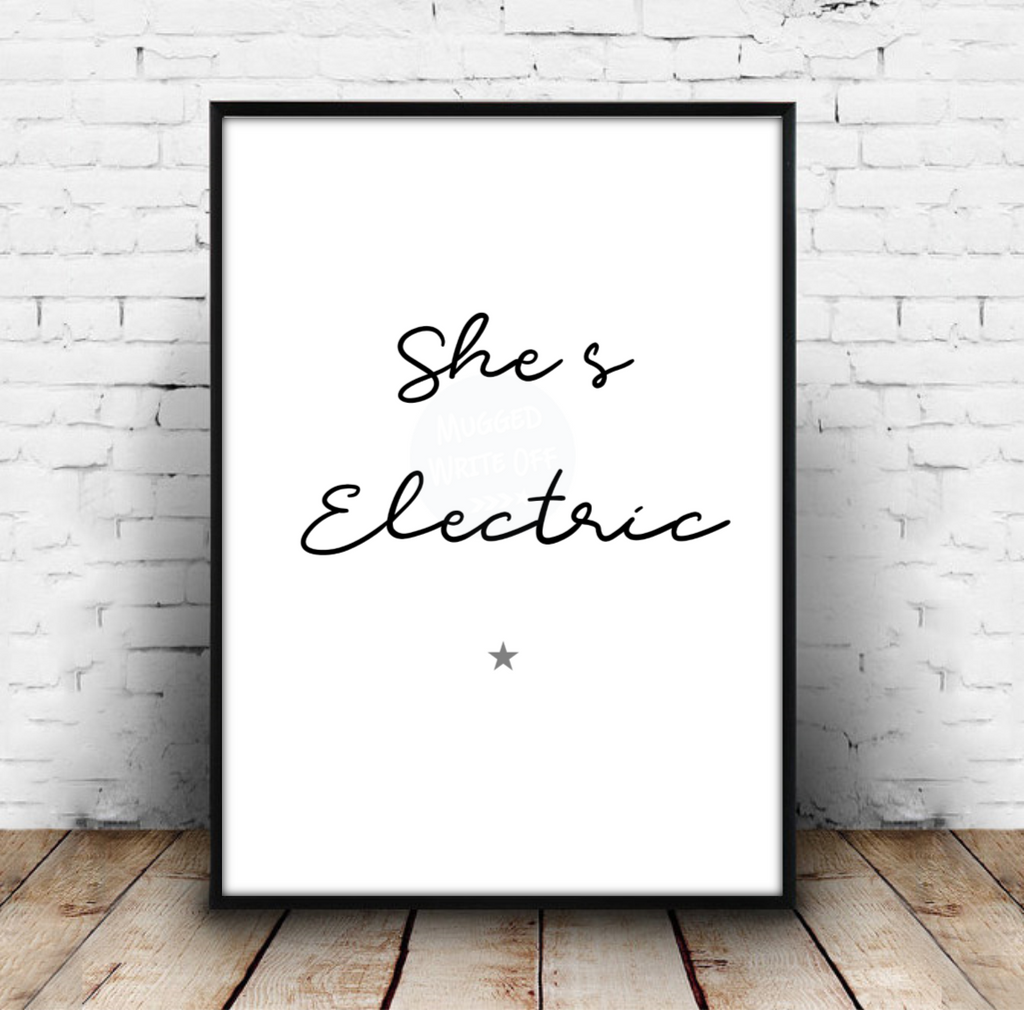 She's Electric - Oasis Music Lyrics Print Download - Mugged Write Off