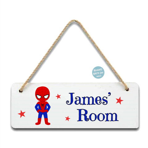 Spiderman Super Hero Room Sign - Mugged Write Off