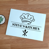 Personalised Kitchen Chef Glass Chopping Board