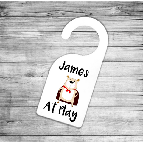 Super Bear At Play Personalised Door Hanger - Mugged Write Off