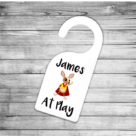Super Mouse At Play Personalised Door Hanger