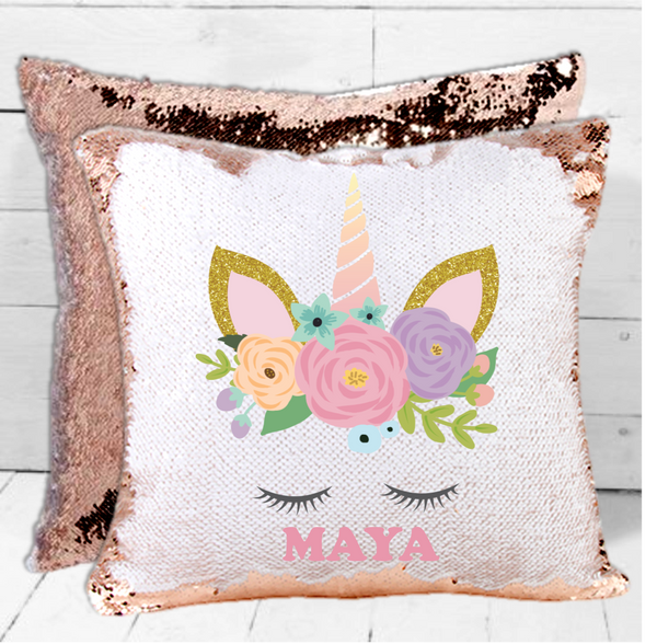 Unicorn Personalised Sequin Cushion - Mugged Write Off