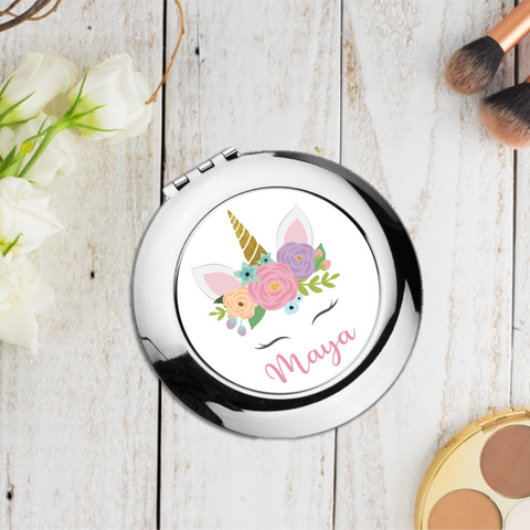 Unicorn Pink Personalised Compact Pocket Mirror - Mugged Write Off