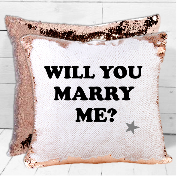 Will You Marry Me? Sequin Cushion - Mugged Write Off
