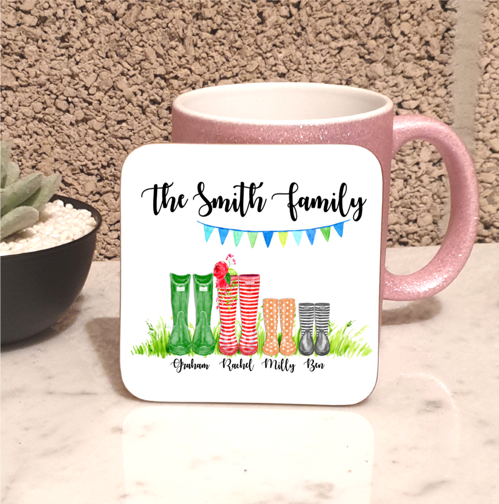 Family Welly Boot Personalised Set Of 4 Coasters - Mugged Write Off