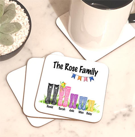 Family Welly Boot Personalised Set Of 4 Coasters