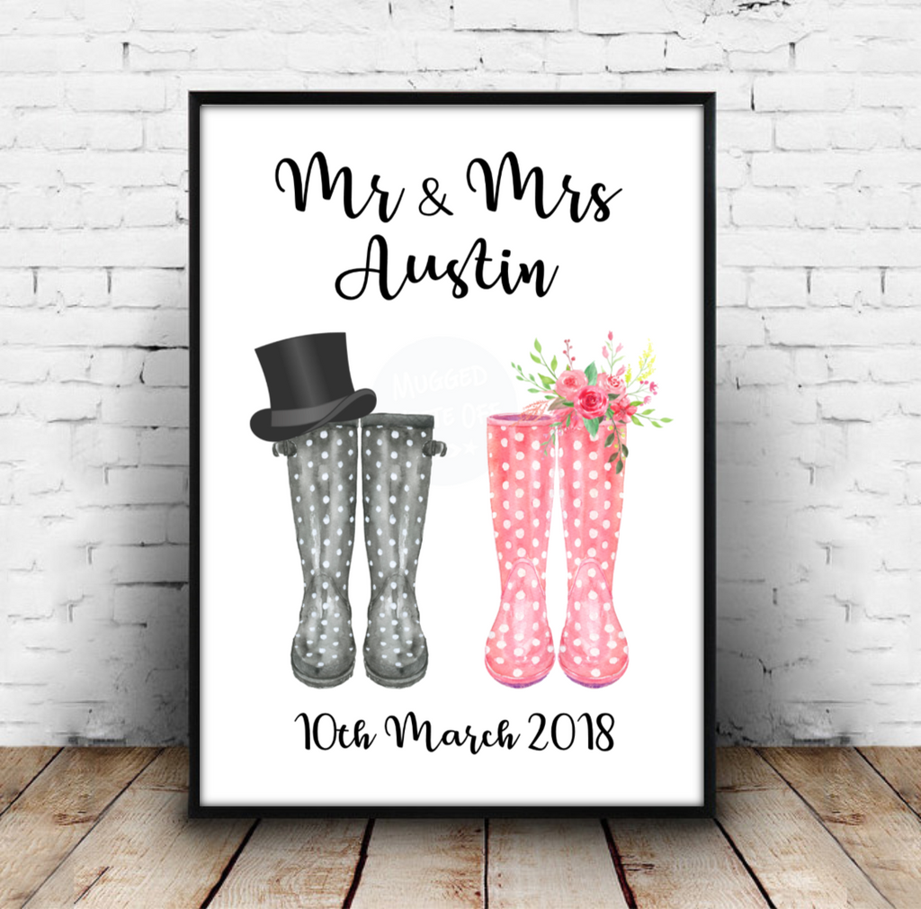 Mr & Mrs Welly Boot Print Download - Mugged Write Off