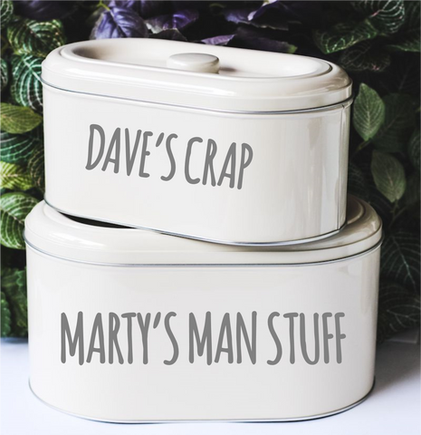 Personalised Stacking Tins with Custom Text