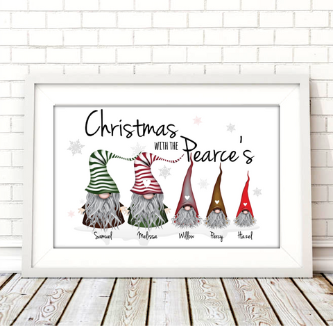 Gonks Christmas Personalised Print Digital Download