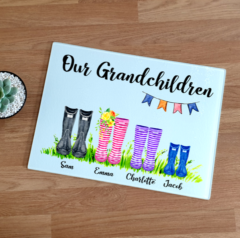 Grandchildren Wellington Boot Glass Chopping Board