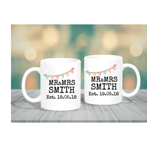 Mr & Mrs Wedding Date Bunting Mug Set - Mugged Write Off