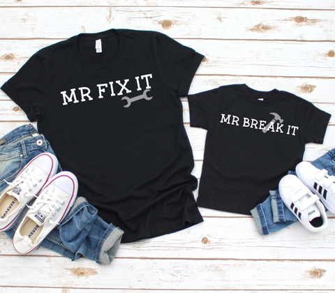 Mr Fix It Mr Break It Dad & Son Matching T Shirts - Mugged Write Off