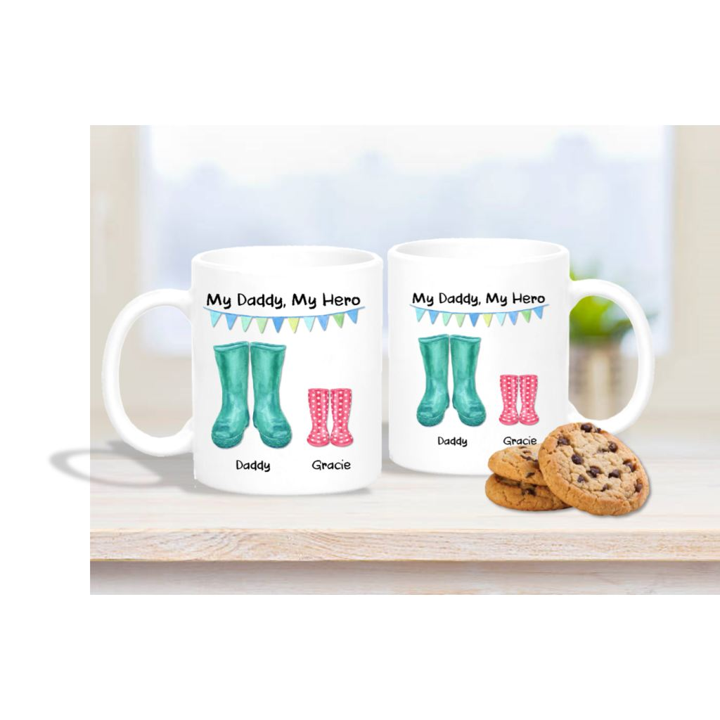 My Daddy My Hero Wellington Boot Mug - Mugged Write Off