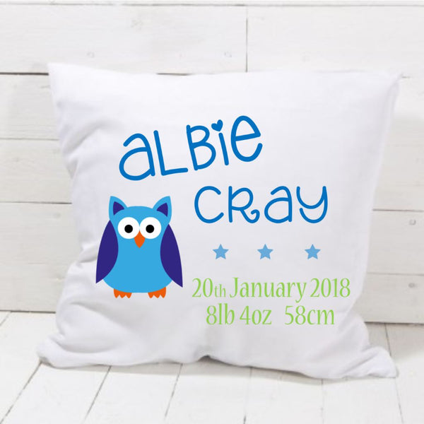 New Baby Boy Owl Cushion - Mugged Write Off