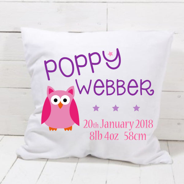 New Baby Girl Owl Cushion - Mugged Write Off