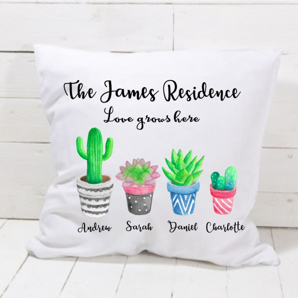 Our Family Love Grows Here Cushion - Mugged Write Off